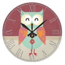 Beautiful Retro Owl Large Clock