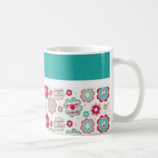 Beautiful Retro Pink & Teal Flowers Mugs