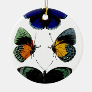 Beautiful retro vintage butterflies picture ceramic ornament