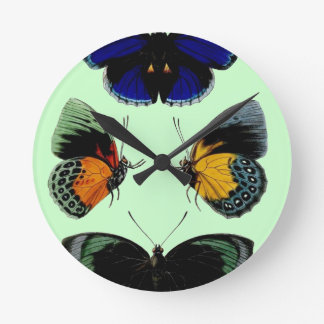 Beautiful retro vintage butterflies picture wall clocks