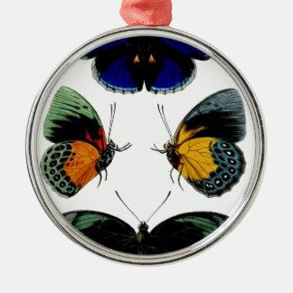Beautiful retro vintage butterflies picture metal ornament