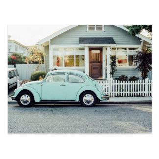 Beautiful retro vintage turquoise car photography postcard