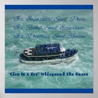 Beautiful Rich Blues Aqua Boat Water Inspirational Poster