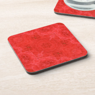 Beautiful Rich Red Rose Blossoms Collage Fusion Beverage Coaster