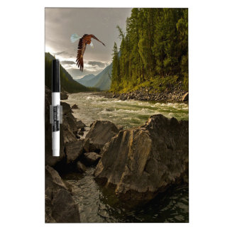 Beautiful River Landscape with Eagle Flying Dry Erase Board