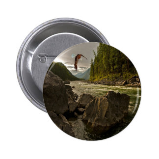 Beautiful River Landscape with Eagle Flying Pinback Button