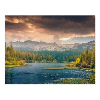 Beautiful river mountains nature landscape postcard