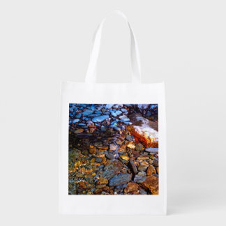 Beautiful Rocks in Water Creek Photo Grocery Bags