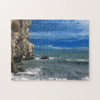 Beautiful Rocky Cliffs and Ocean Scene Jigsaw Puzzle