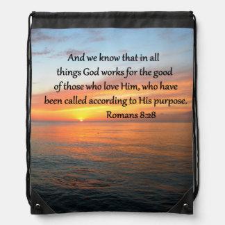 BEAUTIFUL ROMANS 8:28 SUNRISE PHOTO DRAWSTRING BACKPACK