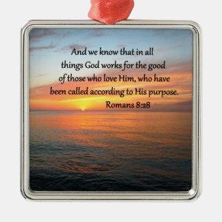 BEAUTIFUL ROMANS 8:28 SUNRISE PHOTO METAL ORNAMENT