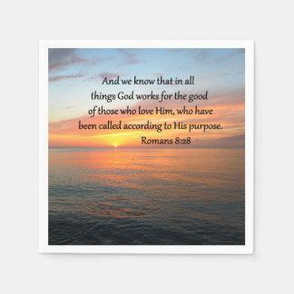 BEAUTIFUL ROMANS 8:28 SUNRISE PHOTO NAPKIN