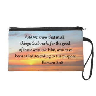 BEAUTIFUL ROMANS 8:28 SUNRISE PHOTO WRISTLET PURSE