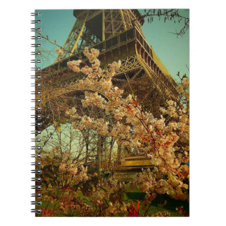 Beautiful Romantic Eiffel Tower Paris Spiral Notebooks