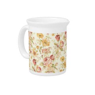 Beautiful romantic floral pattern pitcher