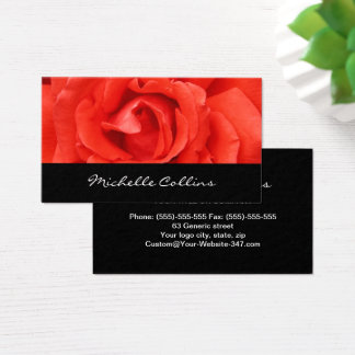 Beautiful romantic red rose personal profile business card