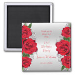 Beautiful Romantic Red Roses Birthday Favor Magnet