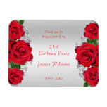 Beautiful Romantic Red Roses Birthday Magnet
