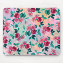 Beautiful romantic watercolor roses floral pattern mouse pad