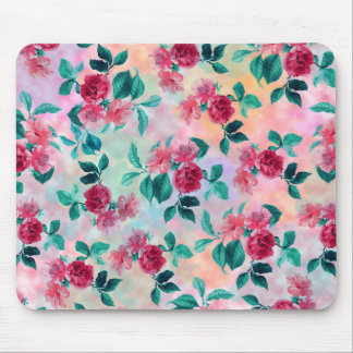 Beautiful romantic watercolor roses floral pattern mouse pad