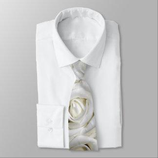 beautiful romantic white roses neck tie