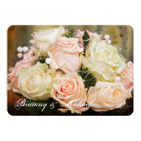 Beautiful Rose Bouquet Flower Wedding Invitations 4.5