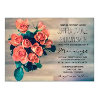 Beautiful Rose Bouquet Flowers Wedding Invitations
