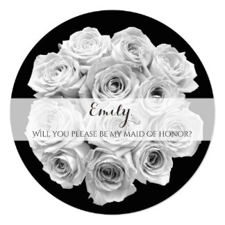 Beautiful Rose Bouquet Maid of Honor Card
