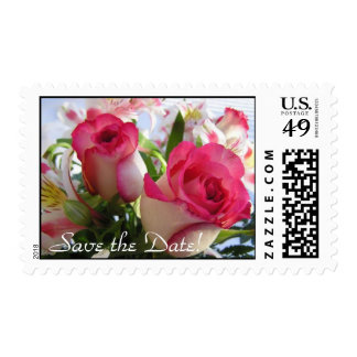 Beautiful Rose Bouquet Save the Date! Postage Stamps
