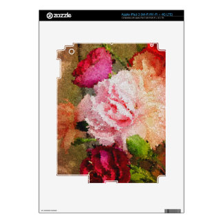 Beautiful Rose Floral Abstract Decals For iPad 3