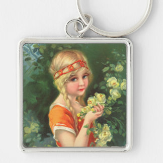 Beautiful Rose Girl Keychain