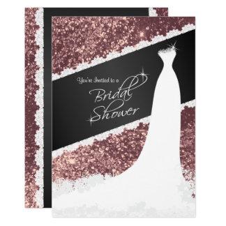 Beautiful Rose Gold Glitter Bridal Shower Card