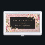 """Beautiful Rose Gold Glitter Girly Floral Decor Business Card Holder<br><div class=""""desc"""">================= ABOUT THIS DESIGN =================  Beautiful Rose Gold Glitter Girly Floral Decor Business Card Holder.  (1) All text style,  colors,  sizes can be modified to fit your needs.  (2) If you need any customization or matching items,  please contact me.</div>"""