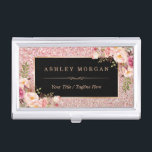 "Beautiful Rose Gold Glitter Girly Floral Decor Business Card Holder<br><div class=""desc"">================= ABOUT THIS DESIGN ================= 