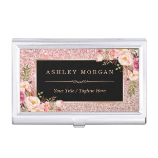 Beautiful Rose Gold Glitter Girly Floral Decor Business Card Holder