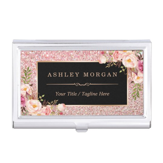 Beautiful rose gold glitter girly floral decor business card holder beautiful rose gold glitter girly floral decor business card holder colourmoves