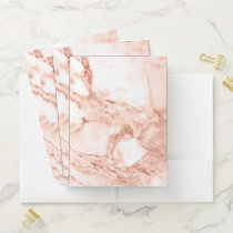 Beautiful Rose Gold Sparkle Marble Pattern Pocket Folder