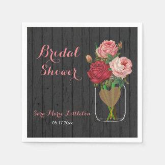 Beautiful Rose Mason Jar Bridal Shower Paper Napkin