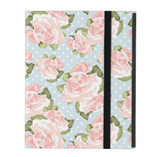 Beautiful rose pattern with blue polka dots iPad cover