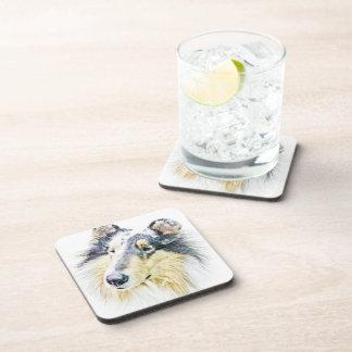 Beautiful Rough Collie dog art Beverage Coaster