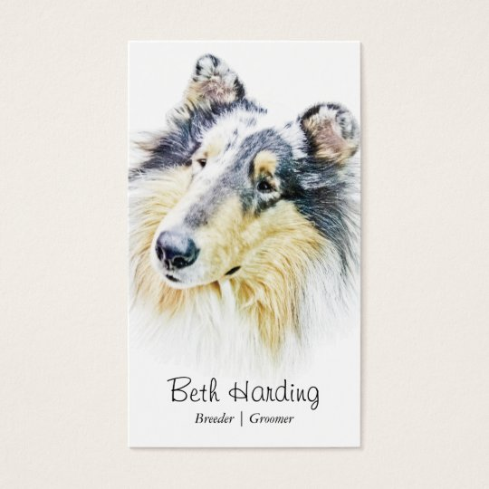 Beautiful Rough Collie dog art Business Card