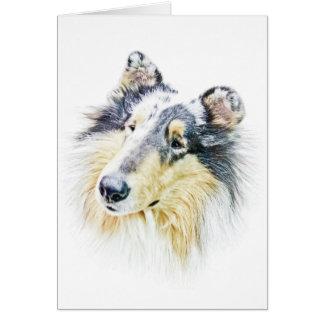 Beautiful Rough Collie dog art Card