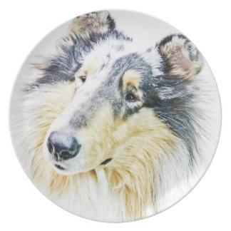 Beautiful Rough Collie dog art Plate