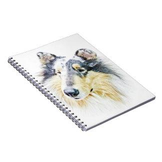 Beautiful Rough Collie dog art Spiral Notebook