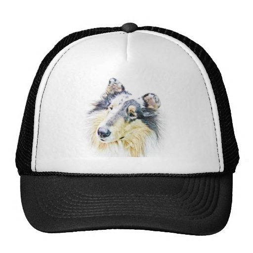 Beautiful Rough Collie dog art Trucker Hats