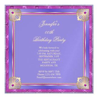 Beautiful Royal Blue & Fushcia Gold Twist birthday Magnetic Card