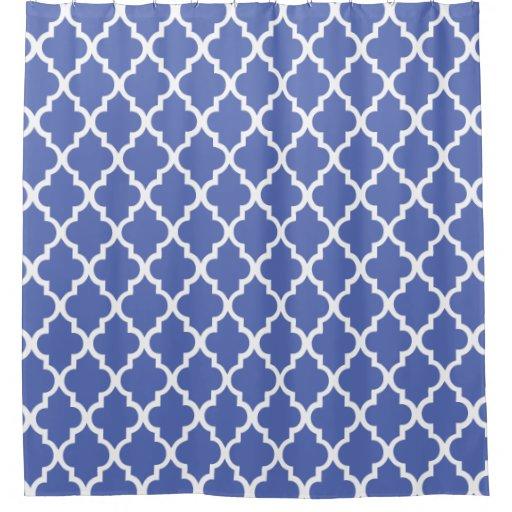 beautiful royal blue quatrefoil pattern shower curtain