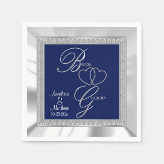 Beautiful Royal Blue, Silver & White Satin Wedding Napkin