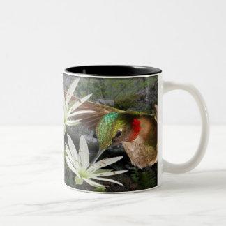 Beautiful Ruby Throated Hummingbirds Two-Tone Coffee Mug