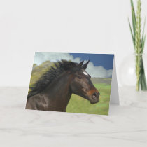 Beautiful Running Horse Blank Note Card